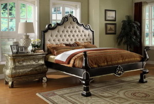 126110AS Upholstery Bed with Silver Leaf set